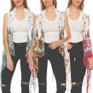 Jackets & Blazers - Paisley Print Chiffon Vest